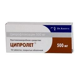 Таблетки, покрытые пленочной оболочкой, Ципролет